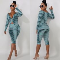 Sexy Tight Stripes Print Slit Top und Shorts Set