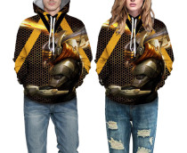 Couples Print Kapuzenpullover mit Tasche
