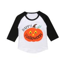 Camisa de Halloween con cuello redondo y estampado unisex para niños
