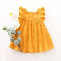 Vestido de niña con volantes y volantes amarillos