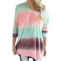 Camisa suelta colorida de manga larga con cuello en O