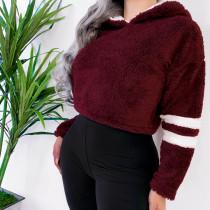 Short Polar Fleece Hoody with Stripes Sleeves