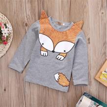 Camisa de otoño unisex con cuello redondo y estampado Fox para niños