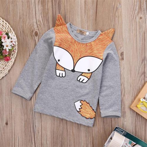 Kinder Unisex Fox Print Rundhals Herbst Shirt