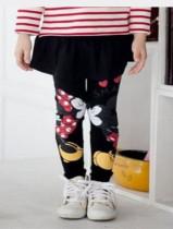 Leggings de impressão dos desenhos animados para crianças com mini saia