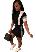 White and Black Crop Top and Mini Skirt