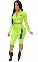 Sport-Print Neon Tight Top und Shorts