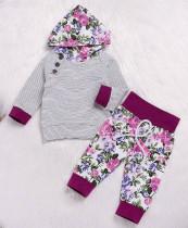 Completo da felpa con cappuccio a manica lunga con stampa floreale per bambini