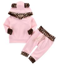 Completo da felpa con cappuccio a manica lunga con stampa leopardo per bambina