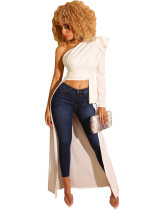 White One Shoulder High Low Party Top