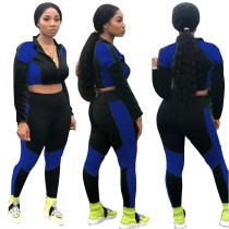 Sport Sexy Contrast Crop Top und Hosen