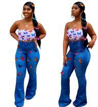 Imprimir Mariposa Sexy Jeans de campana de cintura alta