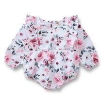 Kız Bebek Çiçek Baskı Uzun Kollu Tulum