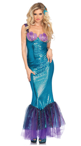 Blau und Lila Sexy Meerjungfrau Kostüm