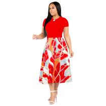 Imprimir una línea de vestido largo con mangas cortas