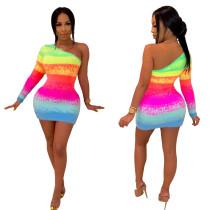 Mini vestido sexy de un hombro colorido