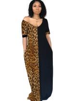 Lange jurk met lange mouwen en luipaardprint