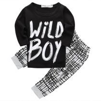 Set camicia e pantaloni manica lunga bambino bianco e nero bambino