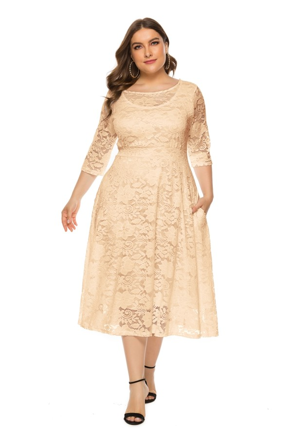Plus size O-hals A-lijn kanten rijpe jurk