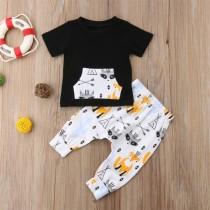 Conjunto de camisa y pantalón de verano con estampado de zorro para niños