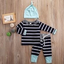 Set di pantaloni per bambino 3 con stampa a strisce per neonato