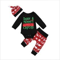 Conjunto de pantalones 3 PCS con estampado navideño de Baby Boy