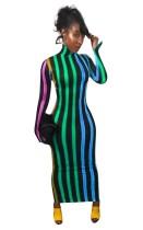 Kleurrijke strepen hoge hals lange ronde jurk