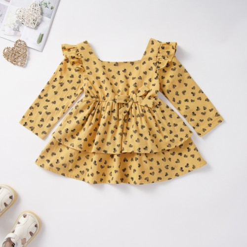 Осеннее платье для девочек с принтом в виде сердца