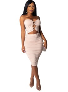 Vestido Midi Ruched de corte sexy sem alças