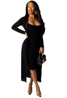 Vestido Midi liso liso com casacos longos combinando