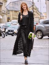 Street Style lange Plüsch Strickjacken mit vollen Ärmeln