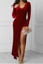 V-Ausschnitt Langarm Slit Velvet Abendkleid