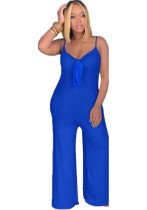 Blauwe bandjes knoop sexy jumpsuit