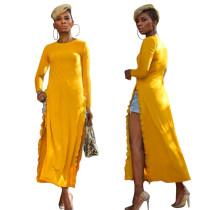 Gelbes Langarm-Hemdkleid mit Schlitz und Rüschen