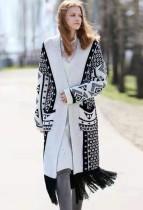 Weißer und schwarzer Print Fransen langen Pullover Mantel
