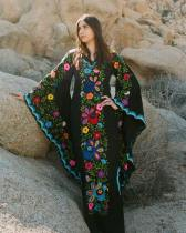 Flower Print Wide Sleeves Long Boho Dress
