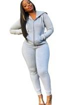 Chándal con capucha de manga larga en blanco