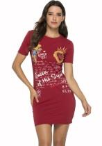 Kurzärmliges Hemdkleid mit O-Ausschnitt