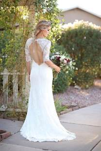 White Lace Cut Out Back Wedding Dress