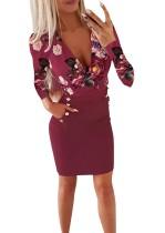 Mini vestido floral de manga comprida com estampa floral