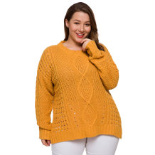 Plus Size Hollow Out O-Neck Loose Sweaters
