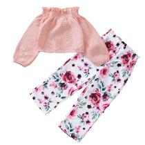 Çocuklar Kız İki Adet Çiçekli Pantolon Seti