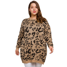 Plus Size O-Neck Leopard Long Sweaters
