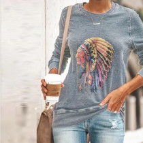 Camisa de manga larga con cuello o estampado