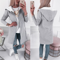 Zipper Up long manteau à capuche avec poches