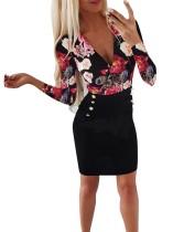 Mini vestido de manga larga con estampado floral