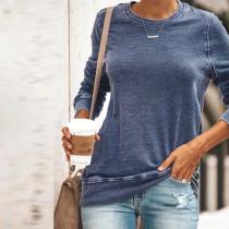 Camisa de manga larga con cuello redondo liso liso