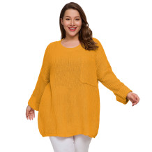 Plus Size Sheer O-Neck Long Sweaters