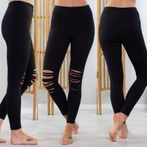 Leggings rasgados sexy negros