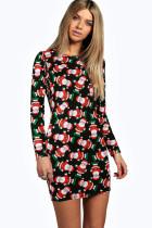 Mini vestido de manga larga con estampado navideño